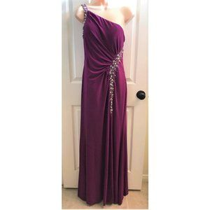 Mary Queen Wine Color Prom Gown w/Beaded Accents